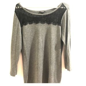 Express Grey Sweater with Black Lace Trim